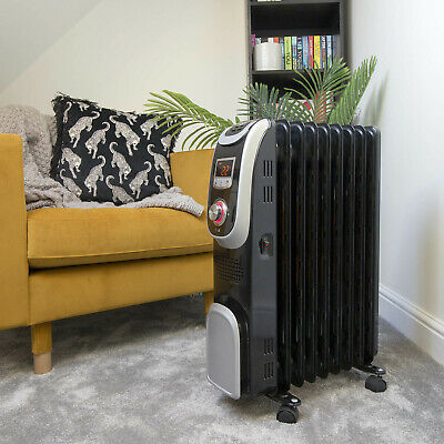 Jack Stonehouse 2000W 9 Fin Portable Electric Oil Filled Radiator Heater + Timer