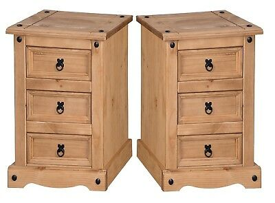 Corona 3 Drawer Bedside Chest Table Cabinet Solid Pine x2 by Mercers Furniture®