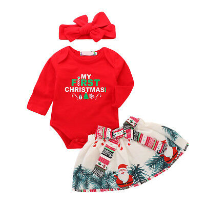 Baby Girls My First 1st Christmas Outfit Romper Tutu Dress Newborn Party Outfits