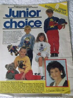 ORIGINAL VINTAGE JUNIOR CHOICE WOMANS WEEKLY 8 page KNITTING PULL-OUT SWEATERS