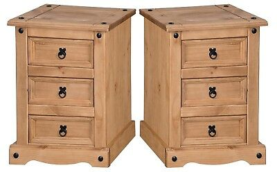 Corona Large 3 Drawer Bedside Chest Table Cabinet Pine x2 by Mercers Furniture®