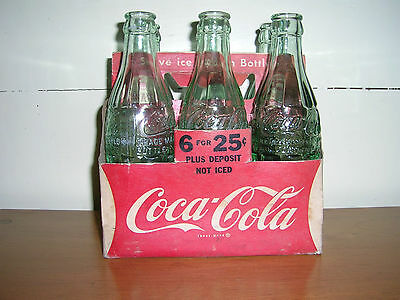 Vintage Six Ounce Coke Bottles with Paper Holder 1950's (?) RARE!
