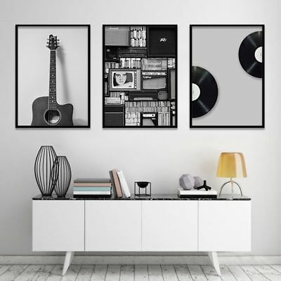 Vintage Music Canvas Painting Wall Art Retro Black White Guitar Picture Decor