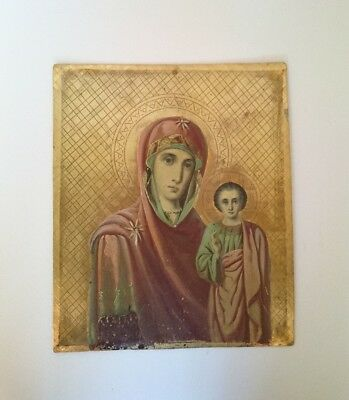 Antique Russian Icons Double-sided Hand-Painted in Metal 19th century.