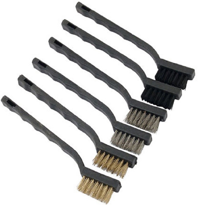 6 Piece Hand Wire Brush Set 175mm Long With Nylon, Brass & Steel Bristles CA121