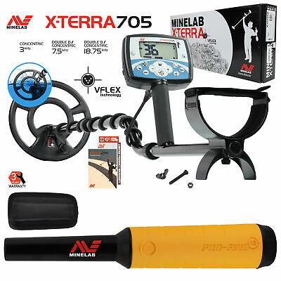 "Minelab X-Terra 705 Metal Detector with 9"" Search Coil, Pro Find 15 Pinpointer"