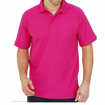 High Quality Hot Pink Polo Shirt  Unisex Uneek Workwear Casual