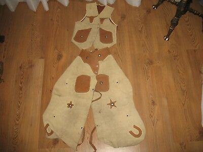 Vintage Youth/childs Western Vest And Chaps, Leather And Suede