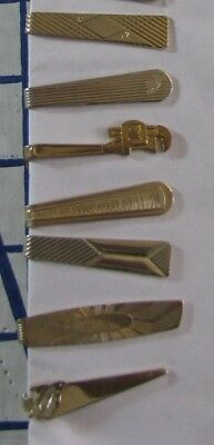 Lot of 30 Small Vintage Men's Tie Bars/ Clips 1940's -1950's Era Gold Toned