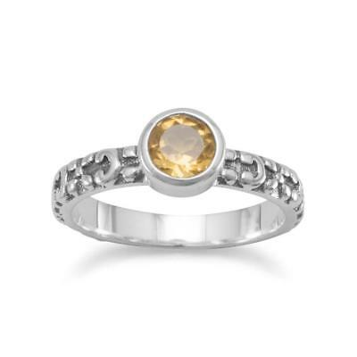 Stackable Citrine Ring with Flower Design Antique Sterling Silver Band