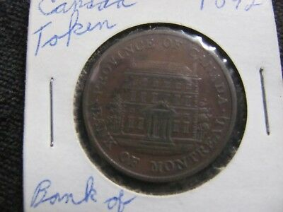 1842 Province Of Canada Half Penny Token -- Bank Of Montreal