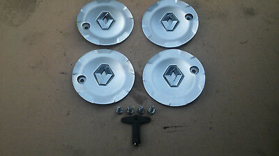 Renault Clio Mk2 Set Of 4 Wheel Centre Caps With 4 Screws And Key 8200081306