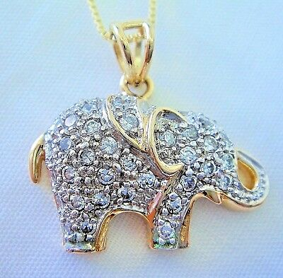 """Gold Plated .925 Sterling Silver & Rhinestone Elephant Pendant w/18"""" Chain"""