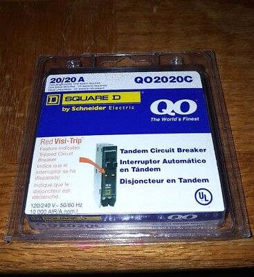 Square D - 20/20A Tandem Circuit Breaker w/Red Visi-Trip QO2020C - NEW