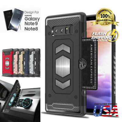 Full Body Armor Galaxy Note 9 8 Case Card Holder Slot for Magnetic car Mount
