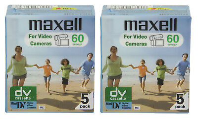 10 Pack Maxell Mini DV Camcorder Tapes 60 Minute Cassettes - SP60 LP90