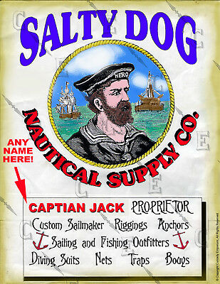 Beautiful Personalized Salty Dog Sea Captain Art Sign Ready To Frame P*25