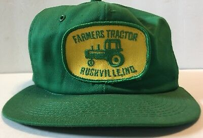 VTG John Deere Farmers Tractor Rushville Indiana Patch Green Yellow Hat SnapBack
