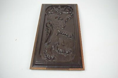 "Antique Carved Wood Panel - Solid 1 1/4"" Thick Crown Lion Rampant"