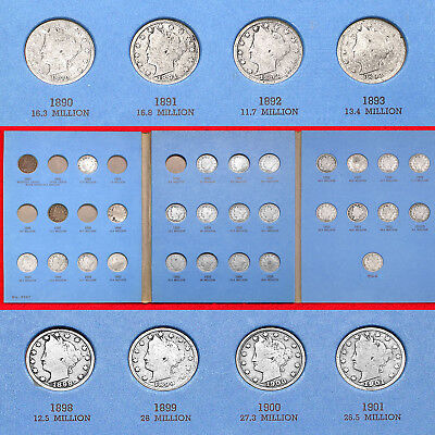 Liberty Nickel Collection (28 Coins) 1884–1912-D Includes (Two 1912-D)