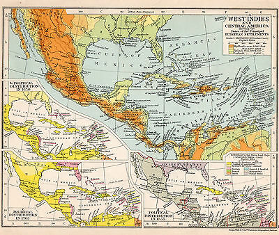 C1923 Antique Map Of West Indies and Central America