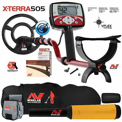 """Minelab X-Terra 505 Detector w/ 9"""" Coil, Pro Find 15, Carry Bag, Finds Pouch"""