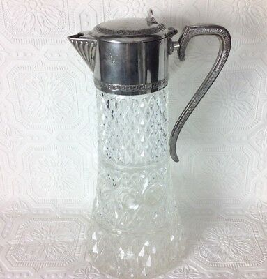 Vintage W A Italy Glass Silver plate Carafe Pitcher Chiller Decanter Wine Water