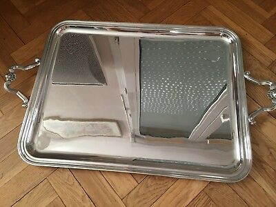 Christofle MARLY Silver Plated Rectangular Serving Tray with Handles FRANCE