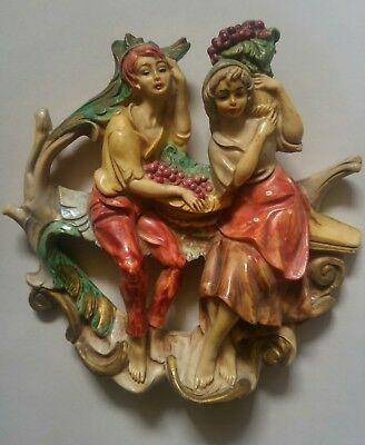 Vintage Italy Hard Plastic Figurines Ornament Wall Decor