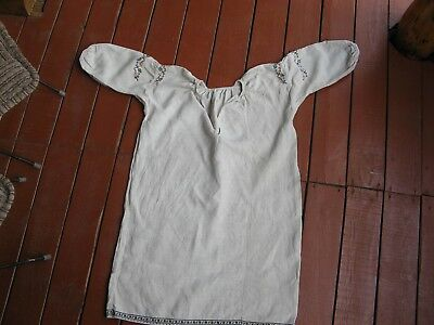 Handmade old vintage antique embroidery folk peasant Ukraini ethno dress shirt m