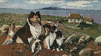 """Border Collies Tri Colored Tapestry Landscape Table Runner Wall Hanging 59""""x12.5"""
