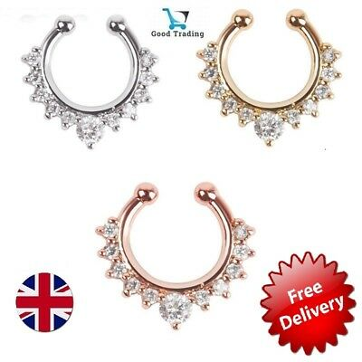 Fake Septum Clicker Nose Ring Non Piercing Hanger Clip On Jewellery UK Silver