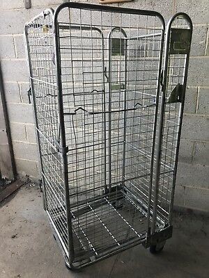 Four Sided Supermarket Retail Shop Roll Cage Container Trolley