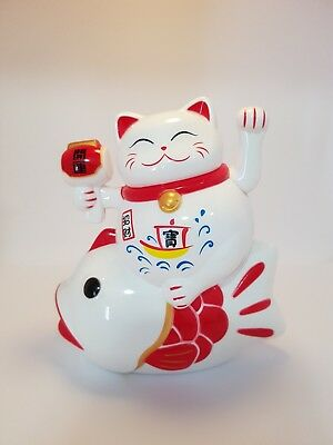 Maneki Neko/ Waving Cat sitting on Arowana Fish Red & White Statue 135mm
