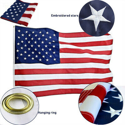 5'x8' FT American Flag USA US U.S. Embroidered Stars Sewn Stripes Brass Grommets