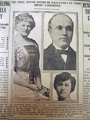 1915 newspaper MOSES ALEXANDER is ELECTED the 1st JEWISH GOVERNOR in US history