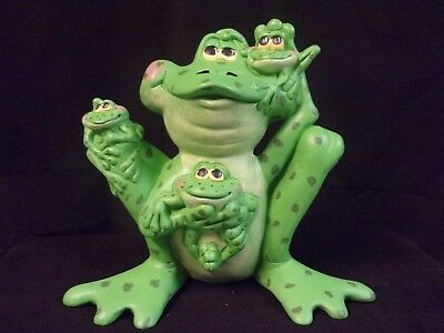 Hand Painted Ceramic Frog Family