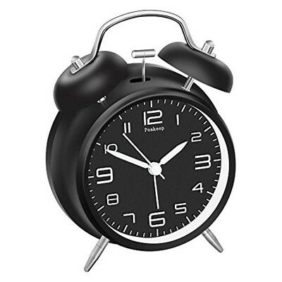 Black White Twin Bell Alarm Clock with Stereoscopic Dial Backlight Battery NEW