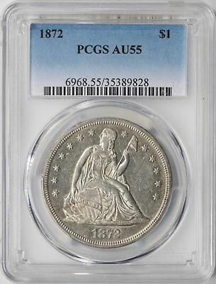 1872 Seated Liberty Silver Dollar 50c PCGS AU55