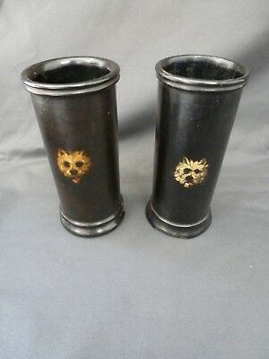 Pair of Antique 19th Century Jennens and Bettridge Papier Mache Vases