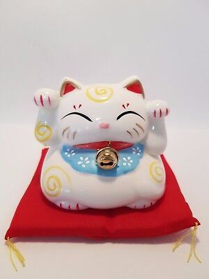 Maneki Neko Cat Money Box White 85mm includes Story (Post or Local Pickup)