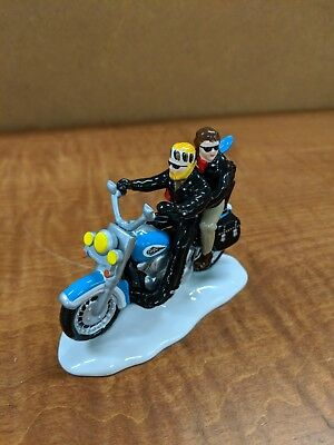 DEPT 56 Harley Davidson Original SNOW VILLAGE TWO FOR THE ROAD BLUE Motorcycle