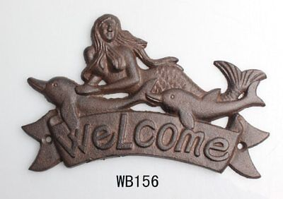 Cast Iron MERMAID WELCOME Plaque DOLPHIN Sign Nautical Wall Decor Rustic
