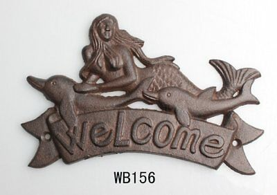 Welcome Plaque Wall Sign Dolphin and Mermaid Nautical Cast Iron  Beach house.
