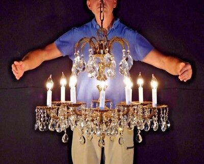 "Antique French 10 Arm 10 Lite ""Palace Versailles"" Cut Lead Crystal Chandelier"