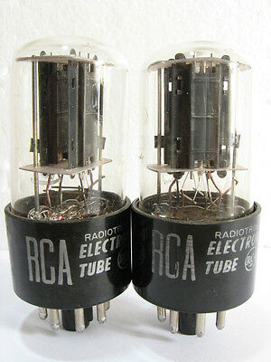 2 matched 1959-60 RCA 6SN7GTB tubes - Black 'Offset' Plates, Bottom [] Getters