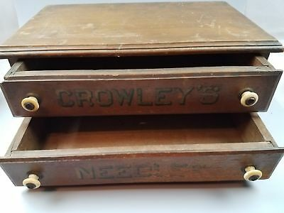 2 Drawer Antique Country Store Walnut Crowley's Needles Cabinet 15.5x9x6.5""