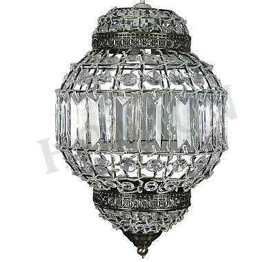 Moroccan Style Antique Brass Frame Pendant Chandelier Clear Ceiling Light Shade
