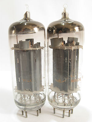 2 matched 1960's GE 6CG7 tubes - Gray Plates, Silver Shield, Top 'O' Getter