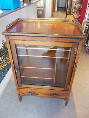 AESTHETIC victorian rosewood cabinet , glazed front  with drawer METAL GALLERY